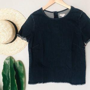 Merona Dark Chambray Denim Short Sleeve Top